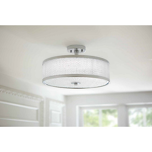 Altamonta 15.75-inch Polished Chrome Integrated LED Semi-Flushmount Ceiling Light with Crystal Glass