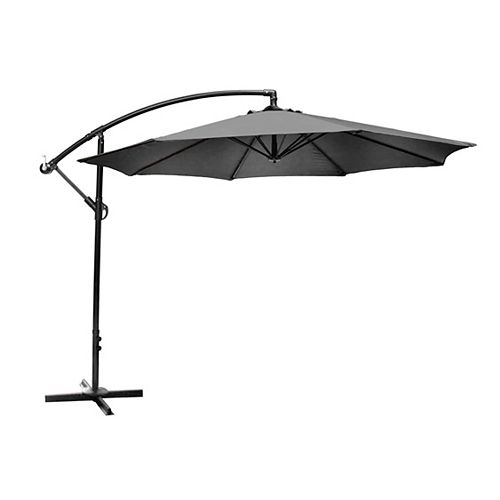 Hampton Bay 10 ft. Offset Patio Umbrella with X Base in Graphite