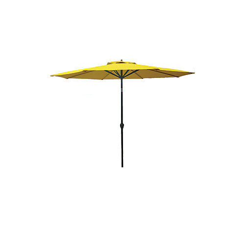 9 ft. Aluminum Push-Up Market Patio Umbrella in Yellow