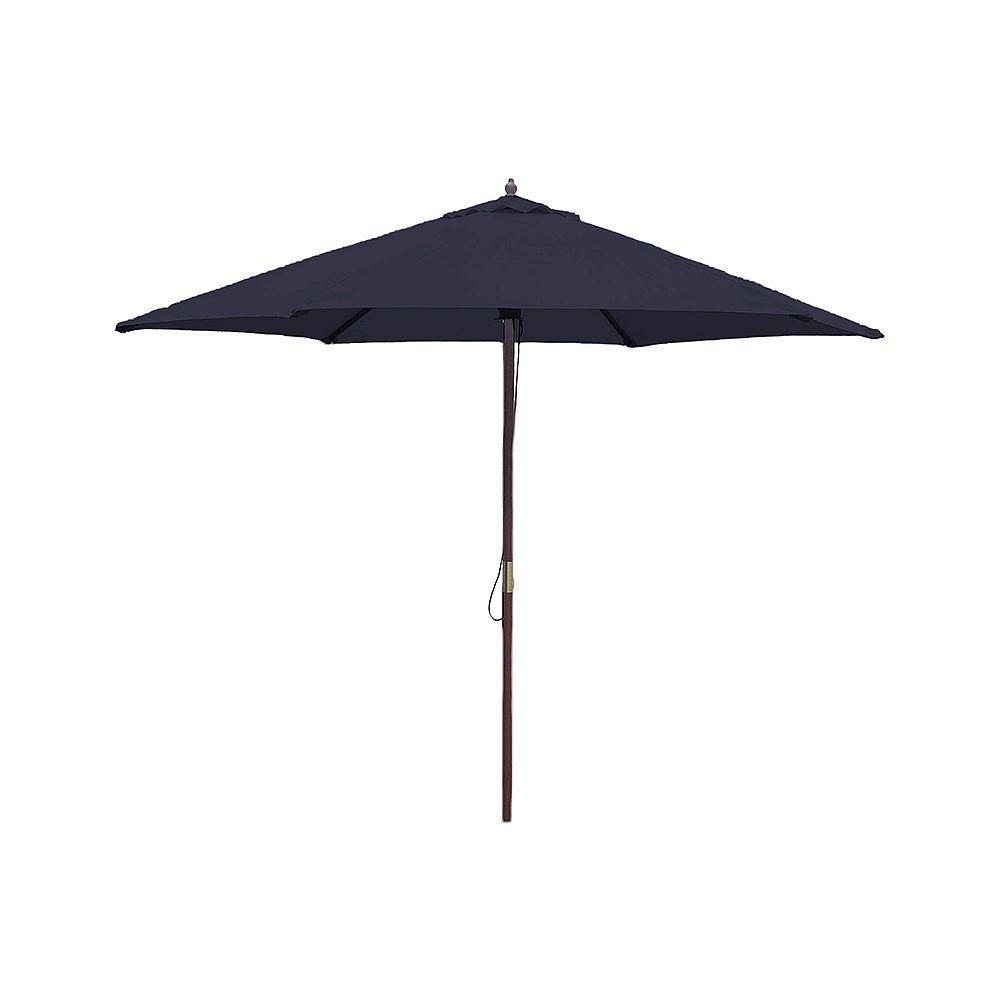 Hampton Bay 9 ft. Wooden Market Patio Umbrella in Navy ...