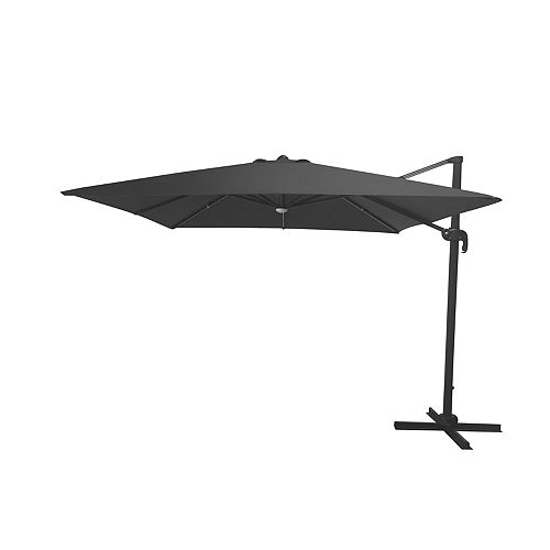 10 ft. LED Solar Square Offset Patio Umbrella in Graphite with X-Base