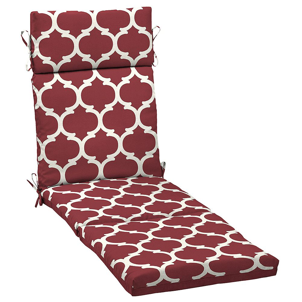 Hampton Bay Outdoor Chaise Lounge Cushion in Frida Trellis