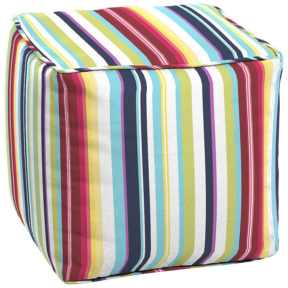 Hampton Bay Carnival Square Patio Pouf Cushion in Multi-Colour Stripe