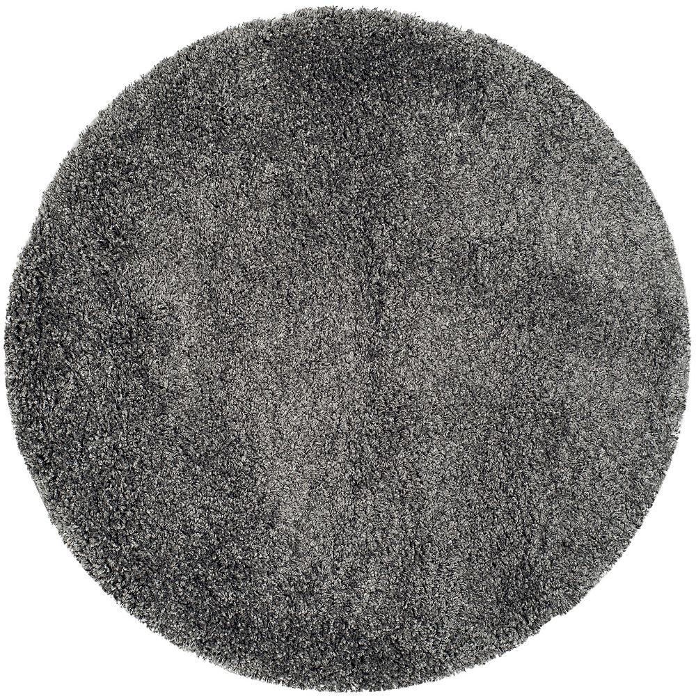 Safavieh Shag Felicia Dark Grey 4 ft. x 4 ft. Indoor Round Area Rug