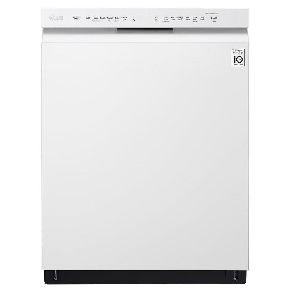 LG Electronics Front Control Dishwasher with QuadWash in White with Stainless Steel Tub, 48 dBA