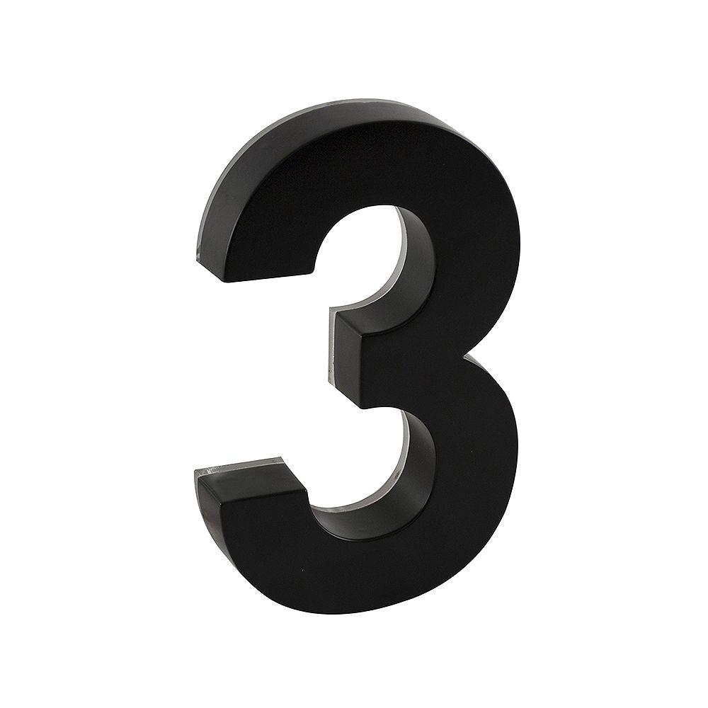 Taymor Numéro de maison en métal noir de 6po rétroéclairé Àdel