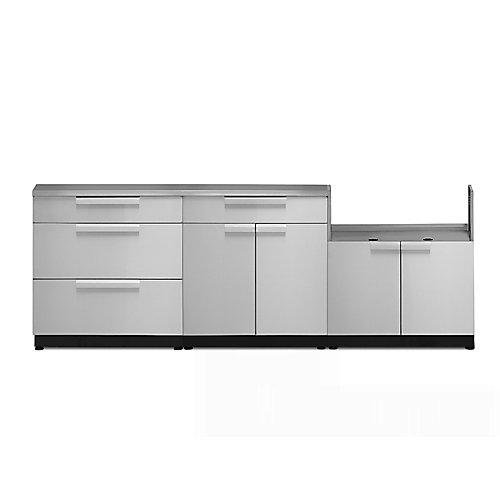 4-Piece Stainless Steel Outdoor Kitchen with BBQ Cabinet and Cover