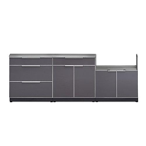 Aluminum Slate 4-Piece 97x36x24-inch Outdoor Kitchen Cabinet Set