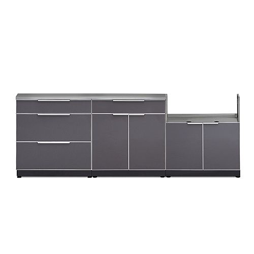 Aluminum Slate 4-Piece 97x36x24-inch Outdoor Kitchen Cabinet Set