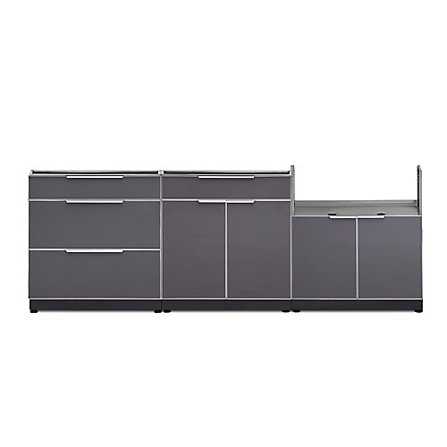 4-Piece Aluminum Outdoor Kitchen Cabinets in Slate
