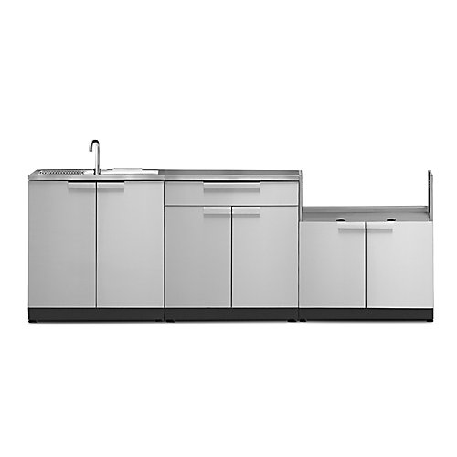4-Piece Stainless Steel Outdoor Kitchen with Sink and Cover