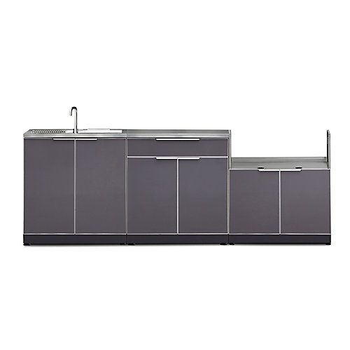 4-Piece Aluminum Outdoor Kitchen in Slate with Covers