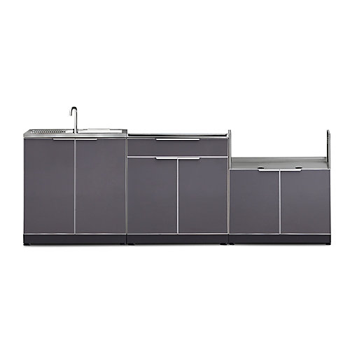 4-Piece Aluminum Outdoor Kitchen in Slate with Covers (Cabinets Only)