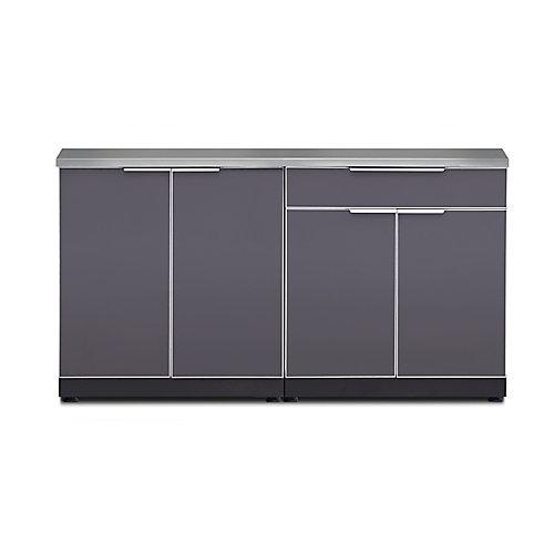 3 Piece Aluminum Glass Outdoor Kitchen Cabinet Set in Grey