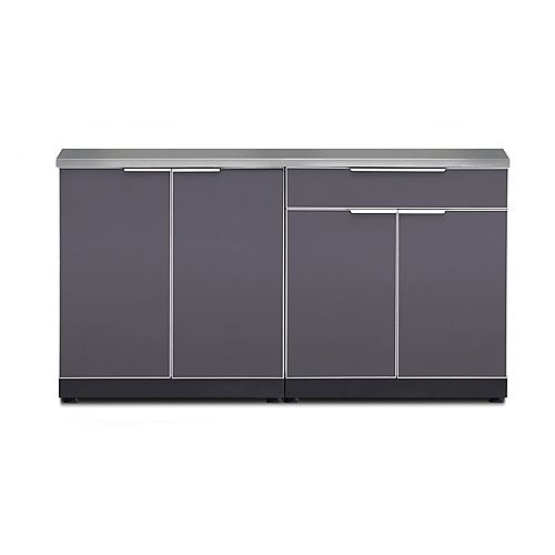 3-Piece Aluminum Outdoor Kitchen Slate with Covers