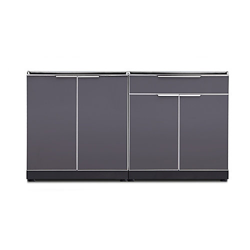 64-inch W x 24-inch D 2-Piece Aluminum Outdoor Kitchen in Slate