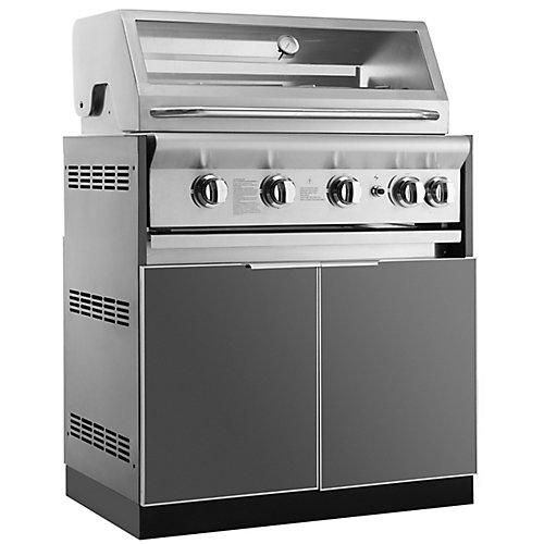 Aluminum Slate 33-inch Insert BBQ Grill 33x34.8x23-inch Outdoor Kitchen Cabinet