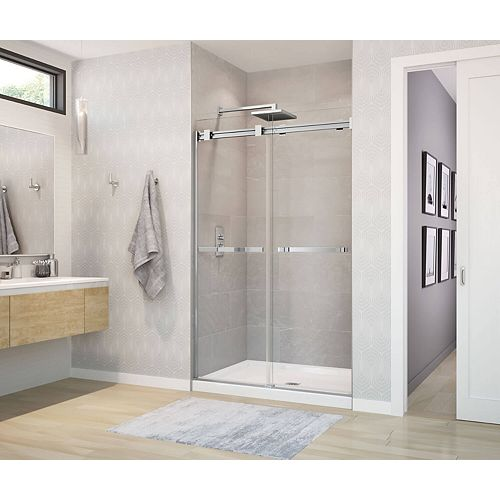 Duel 44 - 47W x 70-1/2H Frameless ByPass Shower Door in Chrome with Clear Glass