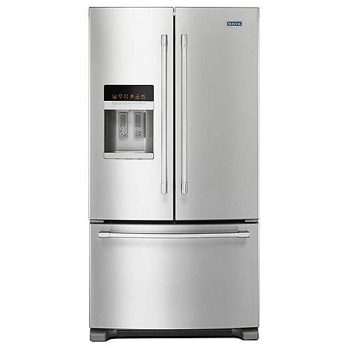 Réfrigérateur à porte française de 36 po W 25 pi3 en acier inoxydable résistant aux empreintes digitales - ENERGY STAR