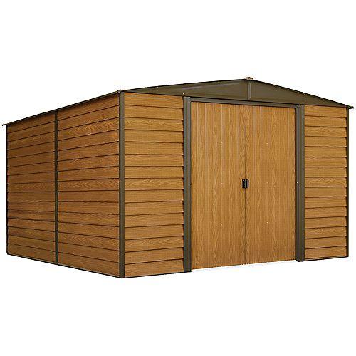 Woodridge,3x3,6, acier électrogalvanisé, couleur café / grain de bois, versant bas
