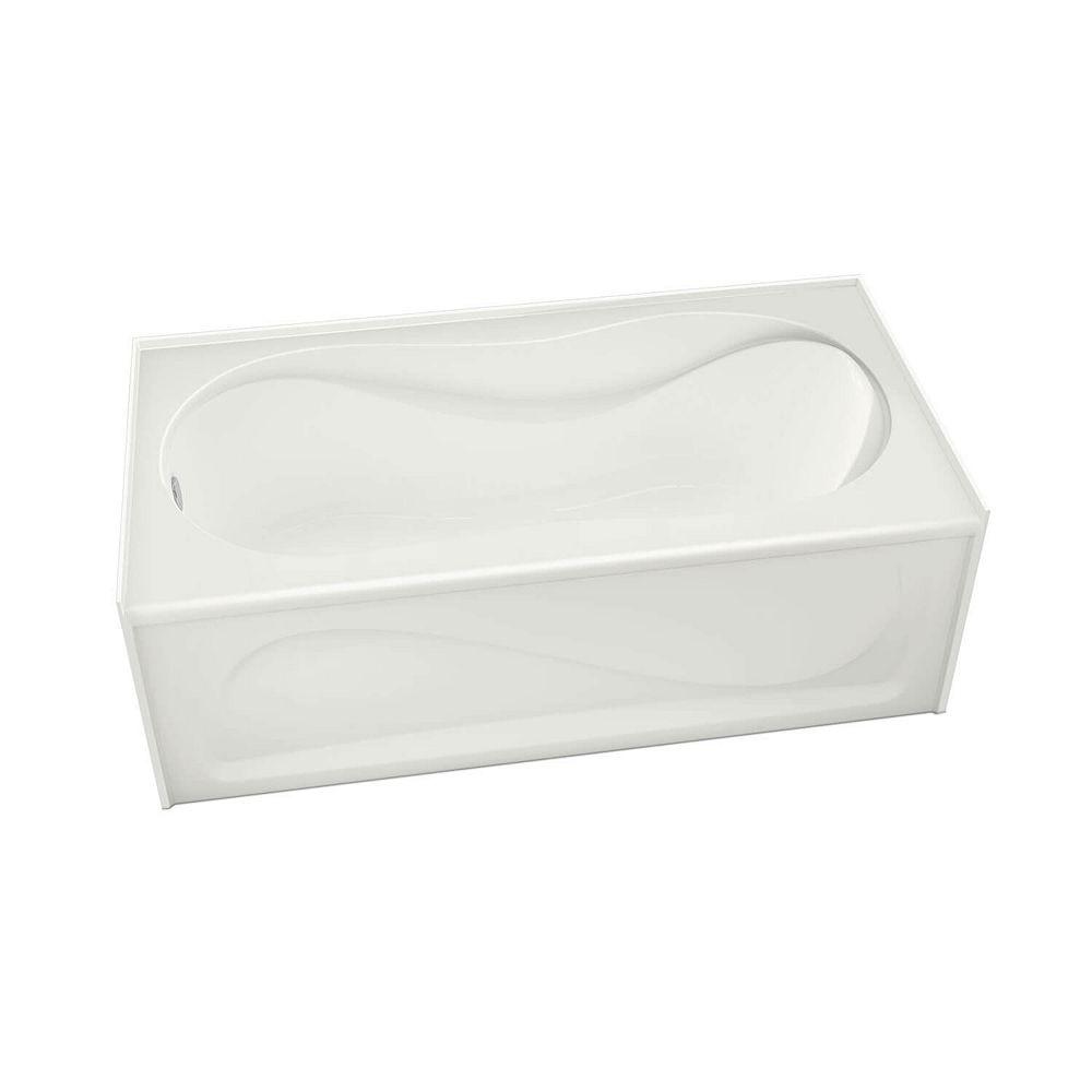 MAAX Cocoon - Baignoire en alcôve rectangulaire 60 x 30 x 20 po., drain à gauche, profondeur de cuve de 13.125 po., acrylique blanc