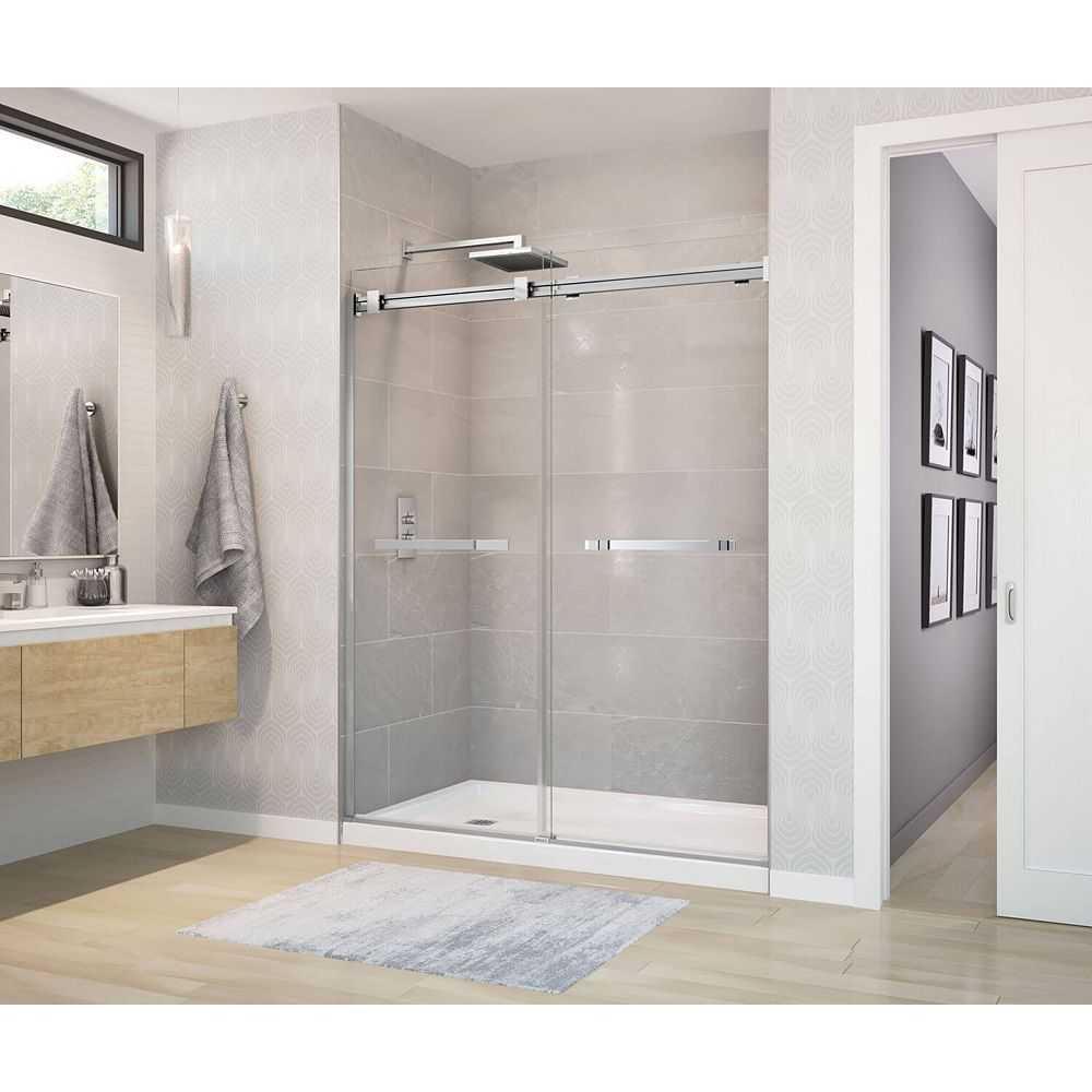 MAAX Duel 56 - 58-1/2W x 70-1/2H Frameless ByPass Shower Door in Chrome with Clear Glass