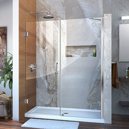 Unidoor 58-inch to 59-inch x 72-inch Frameless Hinged Pivot Shower Door in Chrome with Handle