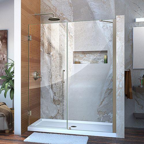 DreamLine Unidoor 57 to 58-inch x 72-inch Frameless Hinged Pivot Shower Door in Brushed Nickel with Handle