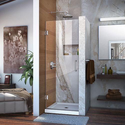 DreamLine Unidoor 27-inch W x 72-inch H Frameless Hinged Pivot Shower Door in Chrome with Handle
