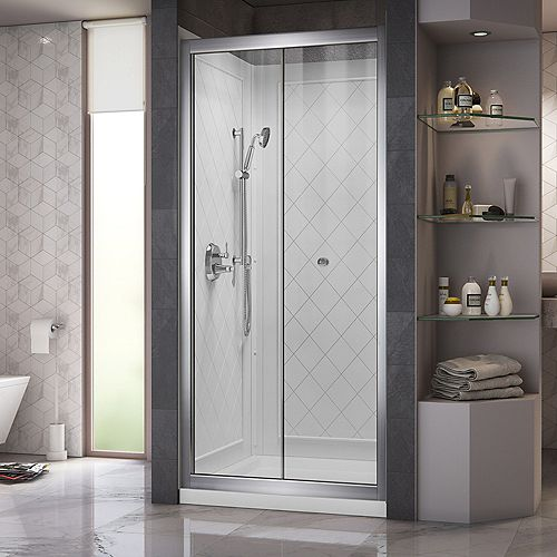 Butterfly 32-inch x 32-inch x 76.75-inch Framed Sliding Shower Door in Chrome with Center Drain Base and Back Walls Kit