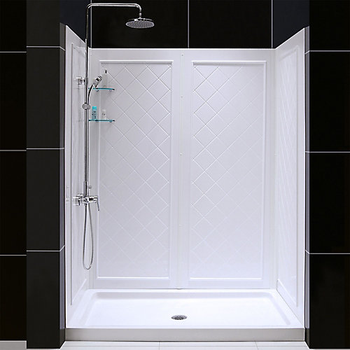 QWALL-5 36-inch x 60-inch x 76-3/4-inch Standard Fit Shower Kit in White with Shower Base and Back Wall