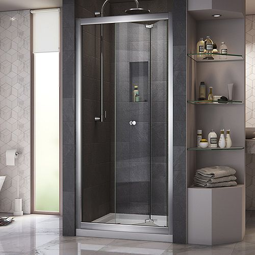 Butterfly 36-inch x 36-inch x 74.75-inch Framed Sliding Shower Door in Chrome with Center Drain White Acrylic Base