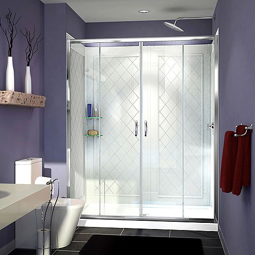 Visions 32-inch x 60-inch x 76.75-inch Framed Sliding Shower Door in Chrome with Center Drain Acrylic Base and Backwall Kit