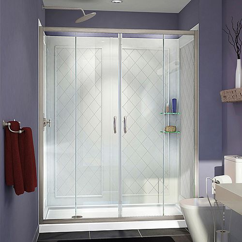 Visions 34-inch x 60-inch x 76.75-inch Framed Sliding Shower Door in Brushed Nickel with Left Drain Base and Back walls Kit