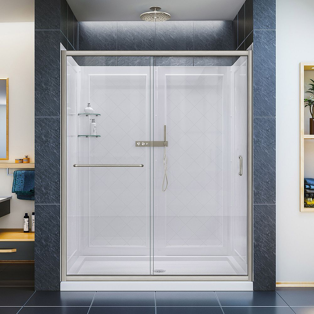 DreamLine Infinity-Z 30-inch x 60-inch x 76.75-inch Framed Sliding Shower Door in Brushed Nickel with Center Drain Base and Back Wall
