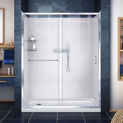 Infinity-Z 32-inch x 60-inch x 76.75-inch Framed Sliding Shower Door in Chrome with Left Drain Base and Back Walls Kit