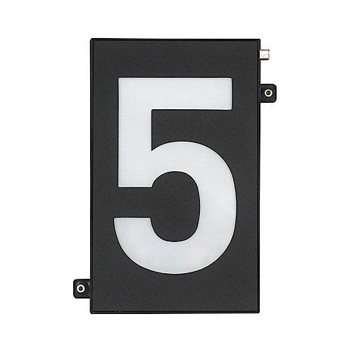 Numéro de maison modulaire noir de 5po avec éclairage à DEL