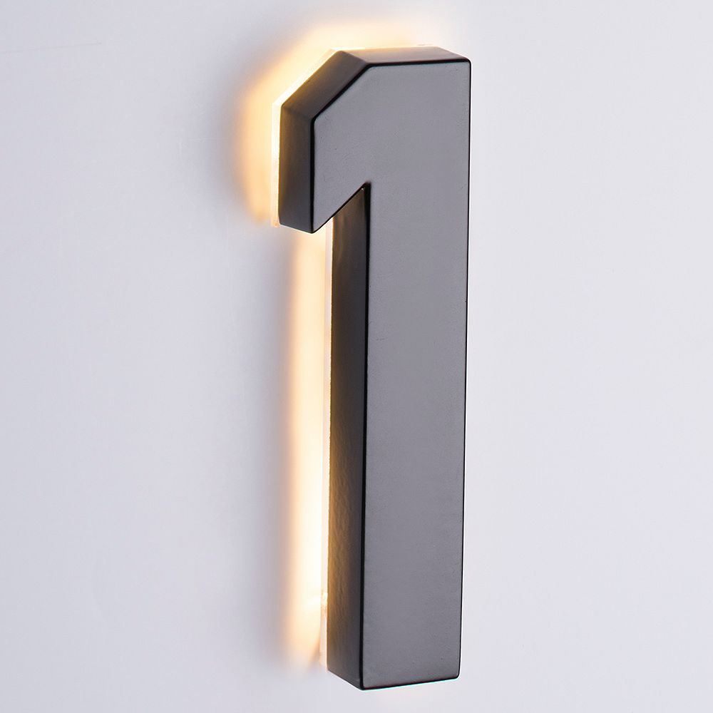 Taymor Backlit LED 6-inch Black Metal House Number