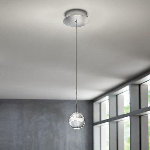 Luminaire suspendu à 1ampoule à DEL, ornementé de verre à bulles, chrome