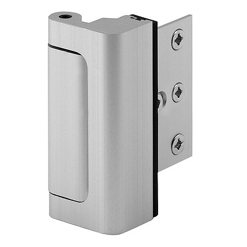 Door Reinforcement Lock, 3 in. Stop, Aluminum Construction, Satin Nickel Anodized Finish
