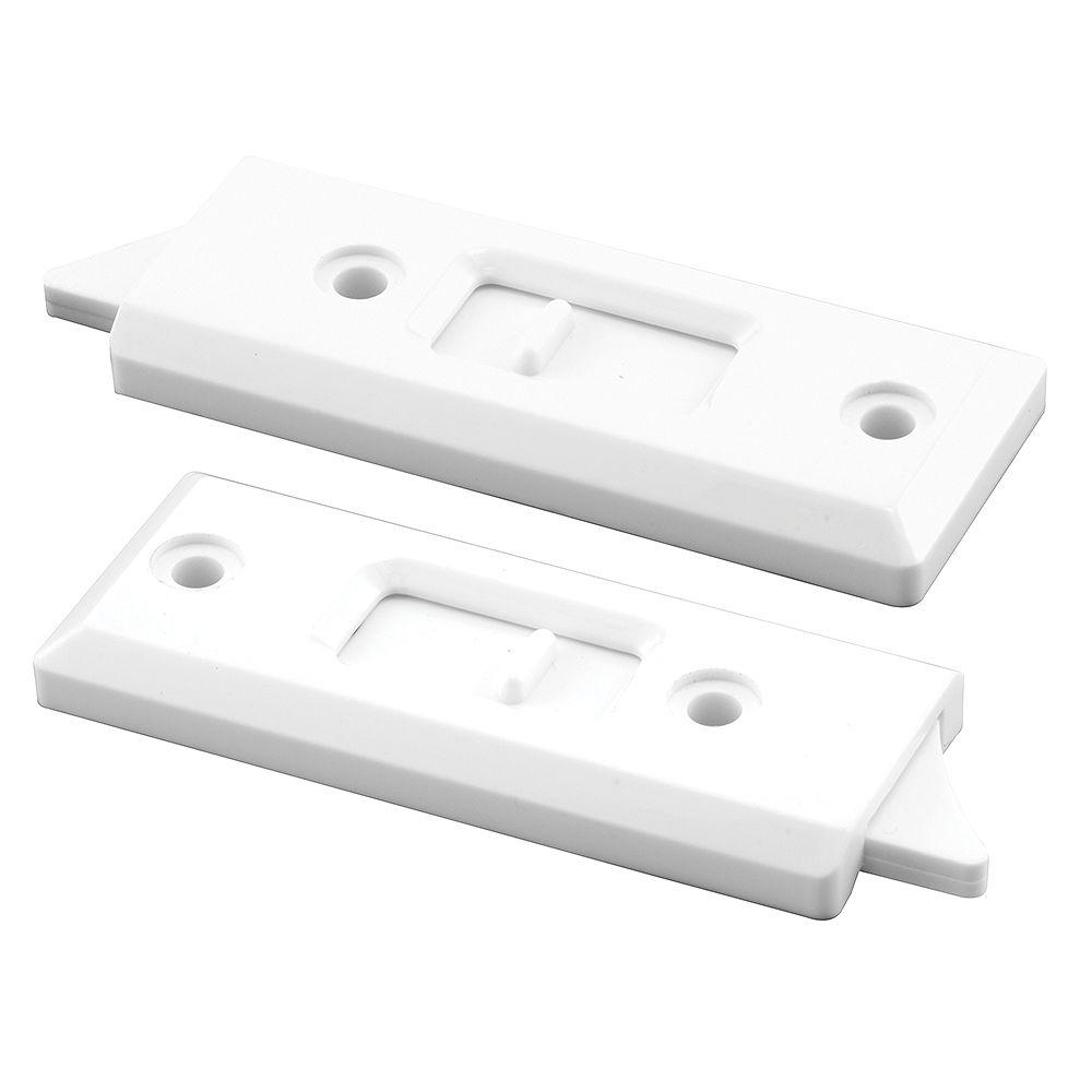 Prime-Line 3-1/4 in., White Plastic, Spring-Loaded Tilt Latch (1-Pair)
