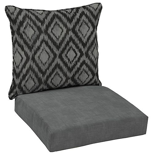 Patio Deep Seating or Outdoor Dining Chair Cushion Set in Jackson Ikat Diamond (2-Piece)
