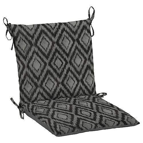 19 inch L x 20 inch W x 3.5 inch T Midback Outdoor Dining Chair Cushion in Jackson Ikat Diamond