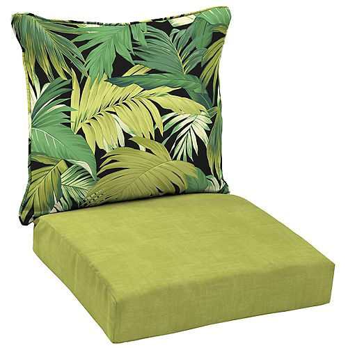 Patio Deep Seating or Outdoor Dining Chair Cushion Set in Tropicalia (2-Piece)