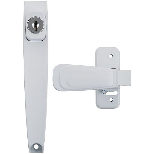 Keyed Heavy Duty Tie Down Push Button Handle, White