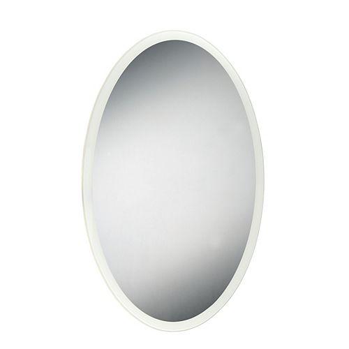 Miroir ovale à bord illuminé à DEL