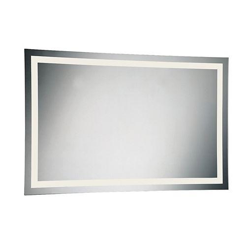 Grand miroir rectangulaire à éclairage frontal à DEL