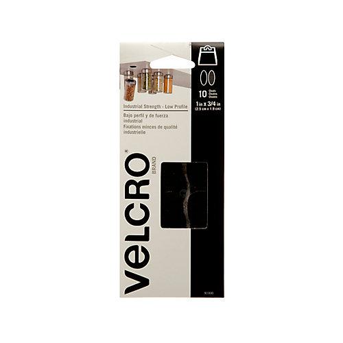 VELCRO ULTRA-MATE SPOTS, 10 PACK,BLK