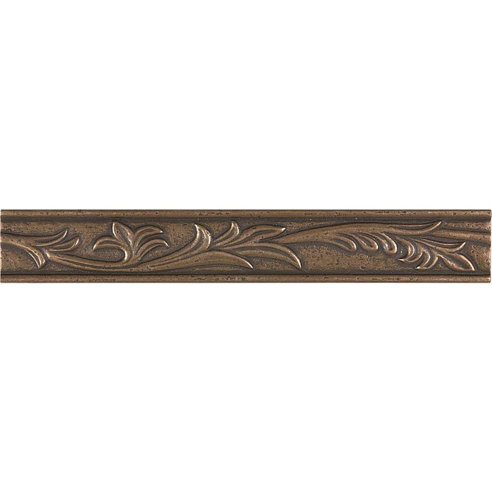 enigma 1inch x 8inch fiore border tile in bronze  the