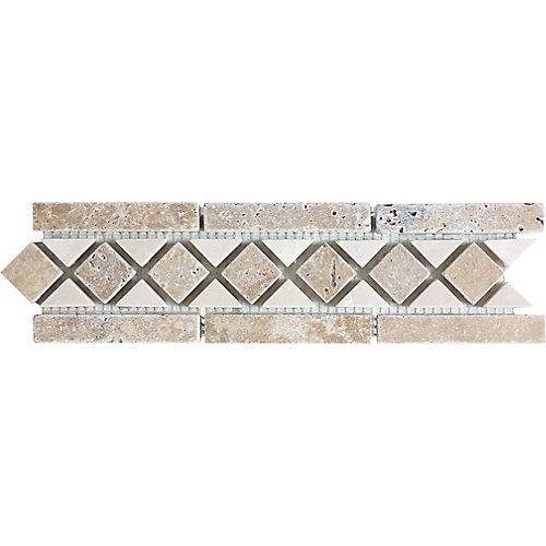 3-Inch x 10.5-Inch Noce/Bottocino Listello Wall Tile